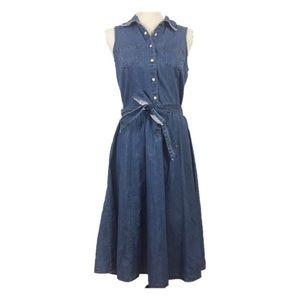Tommy Hilfiger Long Denim Snap Dress Tie Waist 6